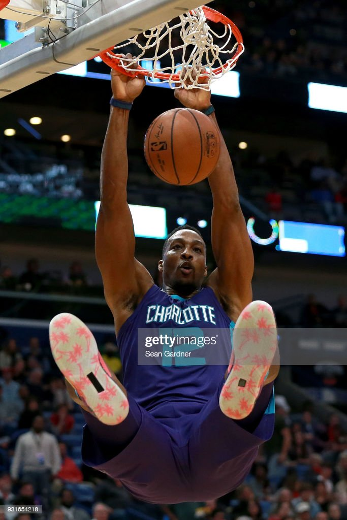Dwight Howard #12 of the Charlotte Hornets dunks the ball during the second half of a NBA game against the New Orleans Pelicans at the Smoothie King Center on March 13, 2018 in New Orleans, Louisiana.