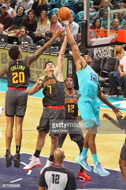 Dwight Howard of the Charlotte Hornets goes up for a rebound against the Atlanta Hawks on October 20 2017 at Spectrum Center in Charlotte North...