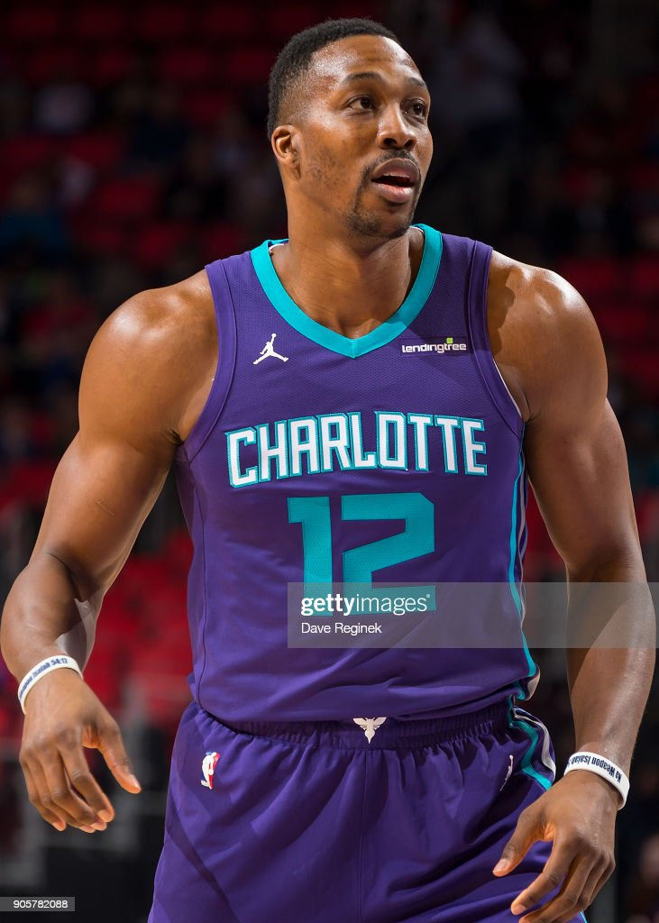 Dwight Howard #12 of the Charlotte Hornets looks down court against the Detroit Pistons during the an NBA game at Little Caesars Arena on January 15, 2018 in Detroit, Michigan.