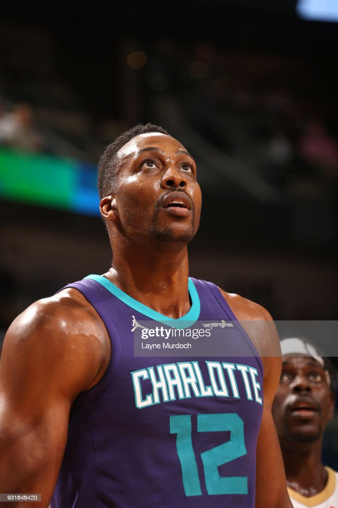 Dwight Howard #12 of the Charlotte Hornets looks on during the game against the New Orleans Pelicans on March 13, 2018 at Smoothie King Center in New Orleans, Louisiana.