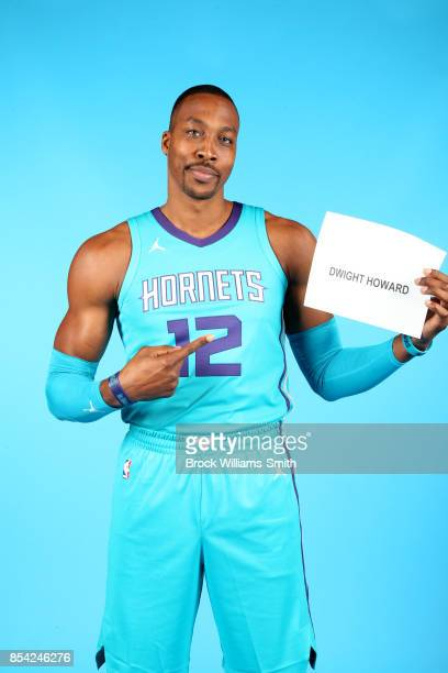 Dwight Howard of the Charlotte Hornets poses for a photo during media day at Spectrum Center in Charlotte North Carolina NOTE TO USER User expressly...