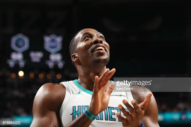 Dwight Howard of the Charlotte Hornets reacts during the game against the Minnesota Timberwolves on November 20 2017 at Spectrum Center in Charlotte...
