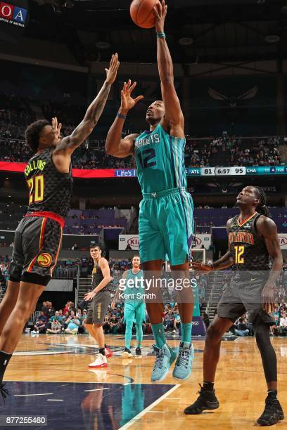 Dwight Howard of the Charlotte Hornets shoots the ball against the Atlanta Hawks on October 20 2017 at Spectrum Center in Charlotte North Carolina...