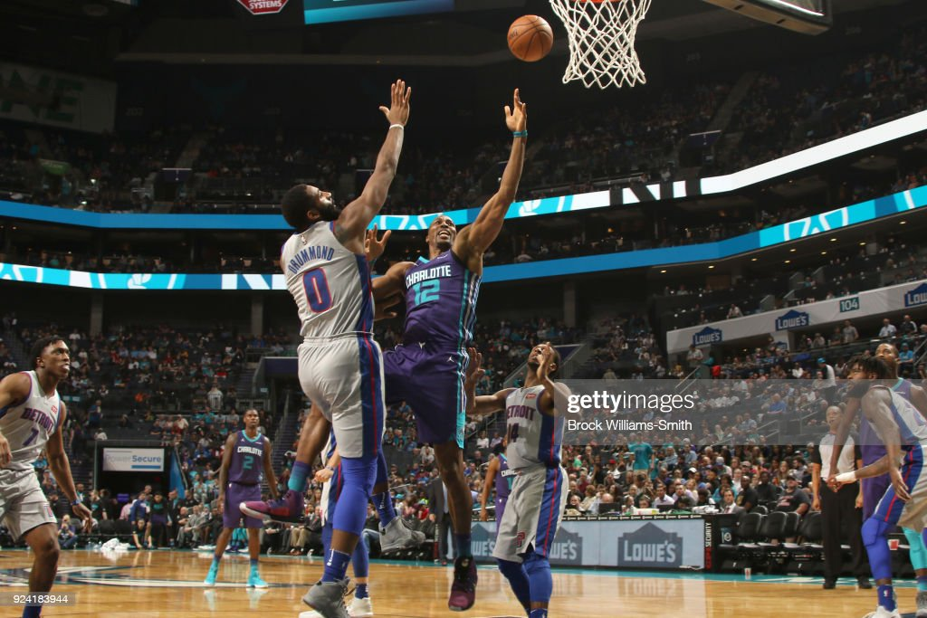 Dwight Howard #12 of the Charlotte Hornets shoots the ball against the Detroit Pistons on February 25, 2018 at Spectrum Center in Charlotte, North Carolina.