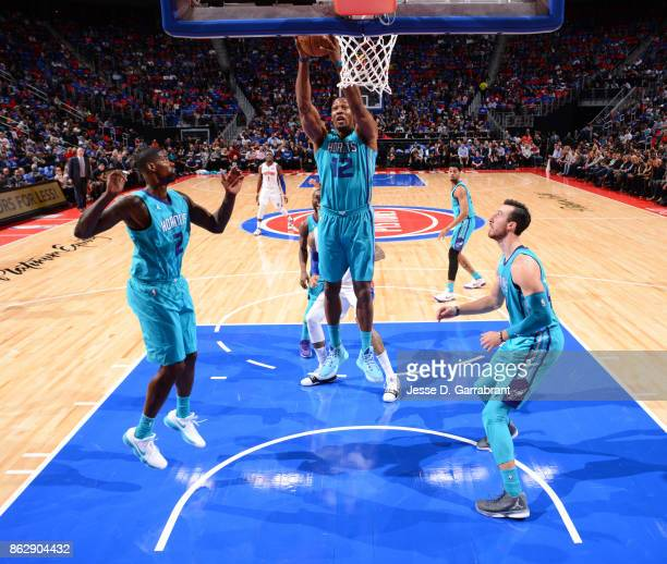 Dwight Howard of the Charlotte Hornets stand for the National Anthem before the game against the Detroit Pistons on October 18 2017 at Little Caesars...