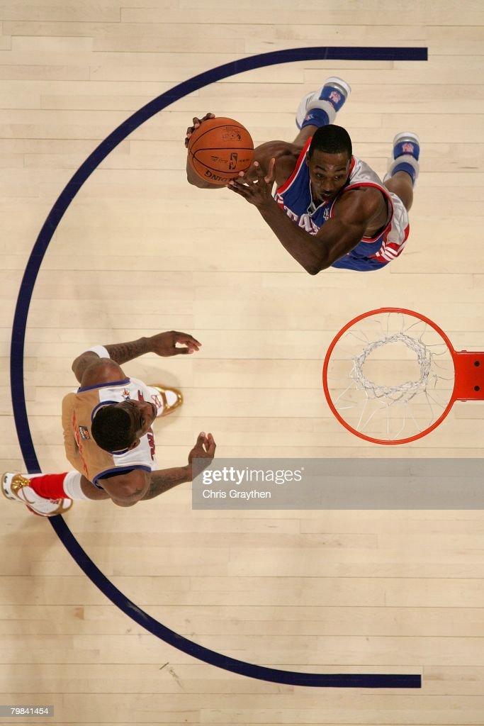 Dwight Howard #12 of the Eastern Conference goes to the basket over Chris Paul #3 of the Western Conference during the 57th NBA All-Star Game, part of 2008 NBA All-Star Weekend at the New Orleans Arena on February 17, 2008 in New Orleans, Louisiana. The East won 134-128.