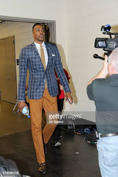 Dwight Howard of the Houston Rockets arriving before facing off against the Los Angeles Clippers for Game Five of the Western Conference Semifinals...