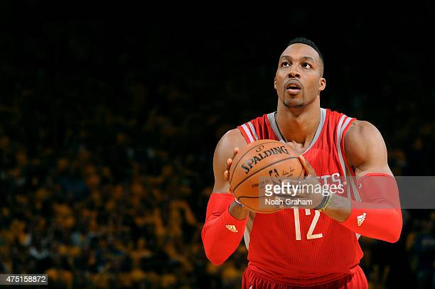 Dwight Howard of the Houston Rockets attempts a free throw against the Golden State Warriors in Game Five of the Western Conference Finals of the...
