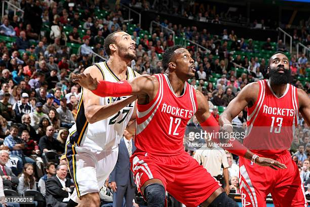 Dwight Howard of the Houston Rockets boxes out against Rudy Gobert of the Utah Jazz during the game on February 23 2016 at EnergySolutions Arena in...