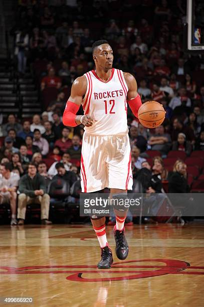 Dwight Howard of the Houston Rockets brings the ball up court against the New Orleans Pelicans on December 2 2015 at the Toyota Center in Houston...
