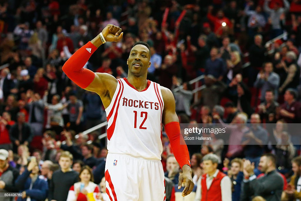 <a gi-track='captionPersonalityLinkClicked' href=/galleries/search?phrase=Dwight+Howard&family=editorial&specificpeople=201570 ng-click='$event.stopPropagation()'>Dwight Howard</a> #12 of the Houston Rockets celebrates after the Rockets defeated the Indiana Pacers 107-103 in overtime during their game at the Toyota Center on January 10, 2016 in Houston, Texas.
