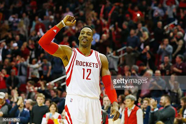 Dwight Howard of the Houston Rockets celebrates after the Rockets defeated the Indiana Pacers 107103 in overtime during their game at the Toyota...