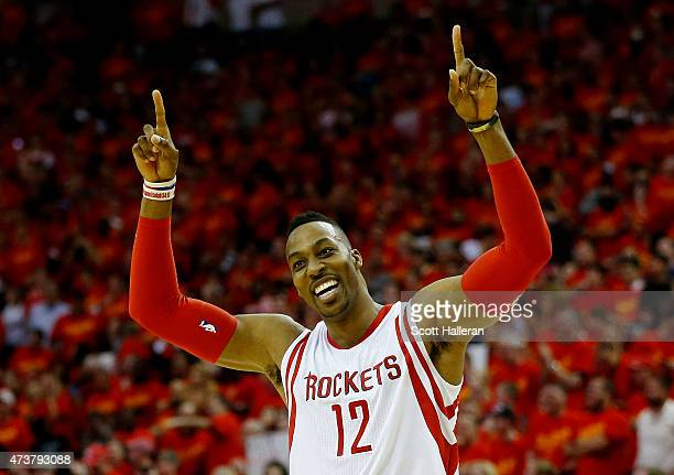 Dwight Howard of the Houston Rockets celebrates after they defeated the Los Angeles Clippers 113 to 100 during Game Seven of the Western Conference...