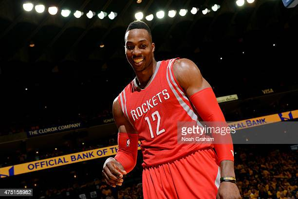 Dwight Howard of the Houston Rockets celebrates during a game against the Golden State Warriors in Game Five of the Western Conference Finals of the...