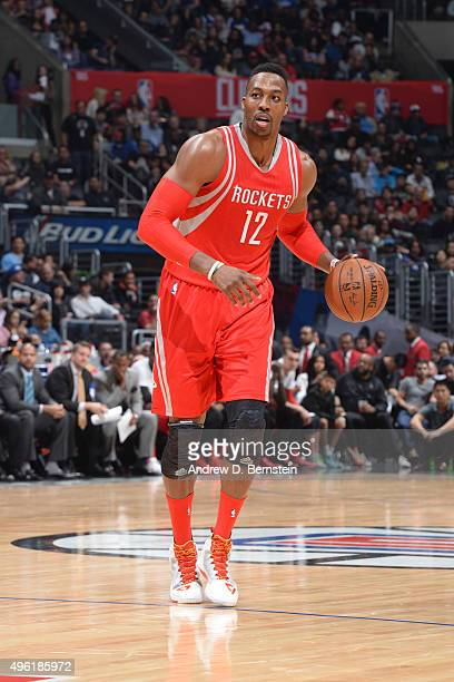 Dwight Howard of the Houston Rockets dribbles the ball against the Los Angeles Clippers on November 7 2015 at STAPLES Center in Los Angeles...