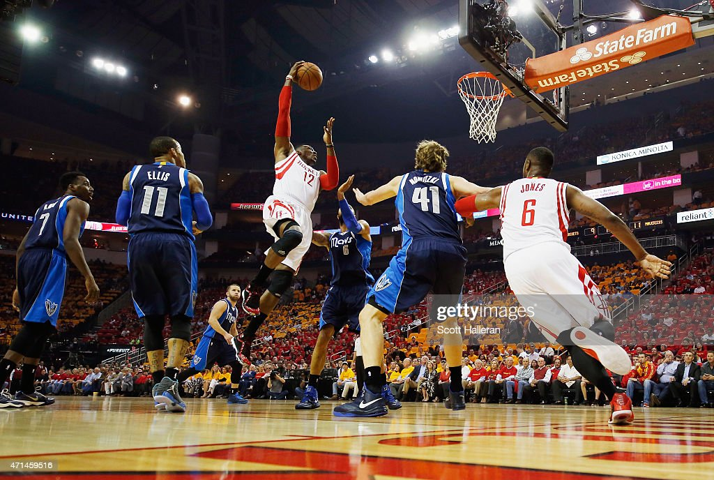 <a gi-track='captionPersonalityLinkClicked' href=/galleries/search?phrase=Dwight+Howard&family=editorial&specificpeople=201570 ng-click='$event.stopPropagation()'>Dwight Howard</a> #12 of the Houston Rockets drives to the basket in front of <a gi-track='captionPersonalityLinkClicked' href=/galleries/search?phrase=Monta+Ellis&family=editorial&specificpeople=567403 ng-click='$event.stopPropagation()'>Monta Ellis</a> #11, <a gi-track='captionPersonalityLinkClicked' href=/galleries/search?phrase=Tyson+Chandler&family=editorial&specificpeople=202061 ng-click='$event.stopPropagation()'>Tyson Chandler</a> #6 and <a gi-track='captionPersonalityLinkClicked' href=/galleries/search?phrase=Dirk+Nowitzki&family=editorial&specificpeople=201490 ng-click='$event.stopPropagation()'>Dirk Nowitzki</a> #41 of the Dallas Mavericks during Game Five in the Western Conference Quarterfinals of the 2015 NBA Playoffs on April 28, 2015 at the Toyota Center in Houston, Texas.