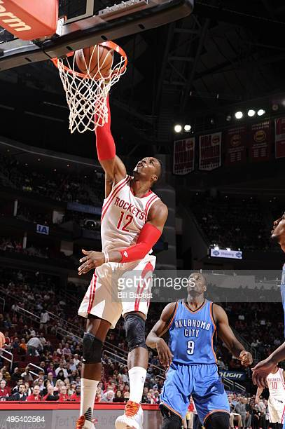Dwight Howard of the Houston Rockets dunks against the Oklahoma City Thunder on November 2 2015 at the Toyota Center in Houston Texas NOTE TO USER...