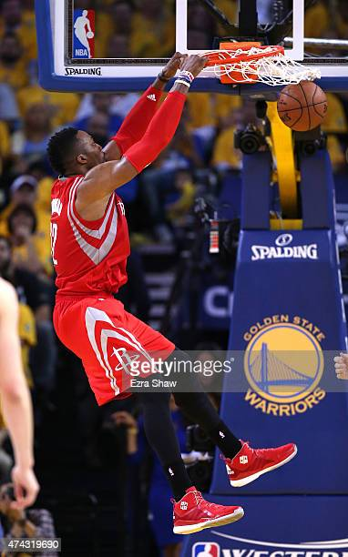 Dwight Howard of the Houston Rockets dunks in the second half against the Golden State Warriors during game two of the Western Conference Finals of...