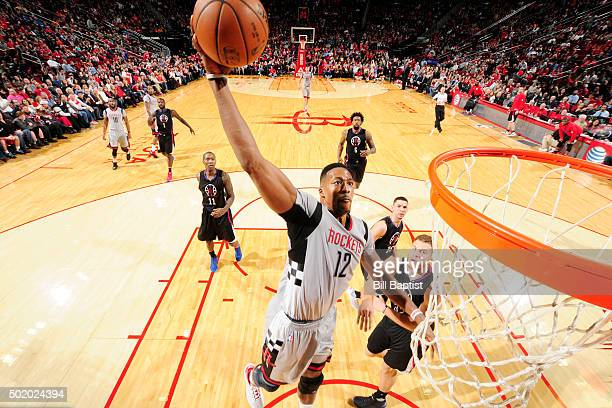 Dwight Howard of the Houston Rockets goes up for a dunk against the Los Angeles Clippers on December 19 2015 at the Toyota Center in Houston Texas...