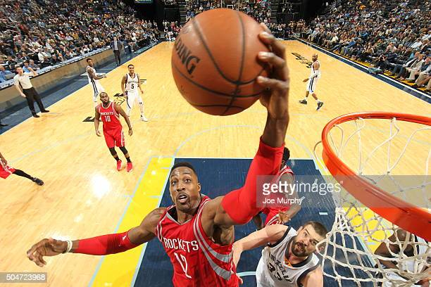 Dwight Howard of the Houston Rockets grabs the rebound against the Memphis Grizzlies on January 12 2016 at FedExForum in Memphis Tennessee NOTE TO...