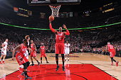 Dwight Howard of the Houston Rockets grabs the rebound against the Portland Trail Blazers on February 10 2016 at the Moda Center in Portland Oregon...