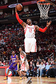 Dwight Howard of the Houston Rockets grabs the rebound against the Los Angeles Lakers on April 10 2016 at the Toyota Center in Houston Texas NOTE TO...