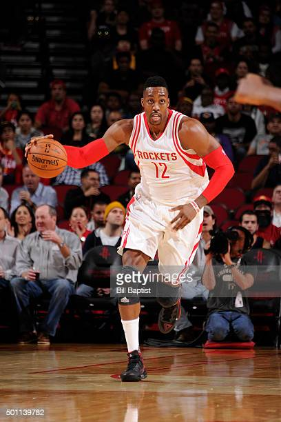 Dwight Howard of the Houston Rockets handles the ball against the Indiana Pacers on December 12 2015 at the Toyota Center in Houston Texas NOTE TO...