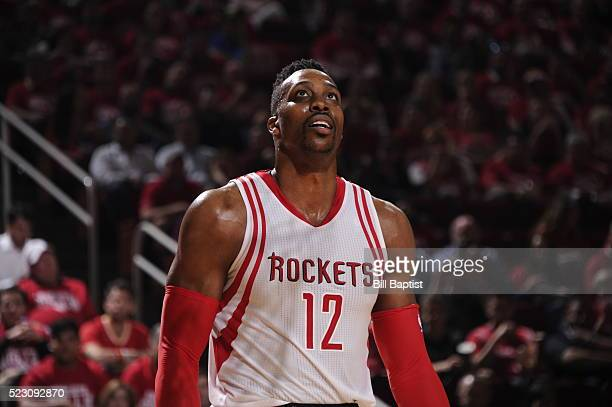 Dwight Howard of the Houston Rockets looks on against the Golden State Warriors in Game Three of the Western Conference Quarterfinals during the 2016...