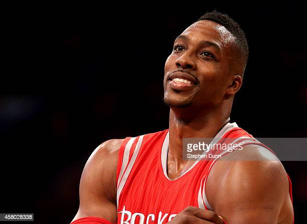 Dwight Howard of the Houston Rockets on the court in the game with the Los Angeles Lakers at Staples Center on October 28 2014 in Los Angeles...