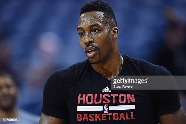 Dwight Howard of the Houston Rockets participates in warmups prior to a game against the New Orleans Pelicans at the Smoothie King Center on January...