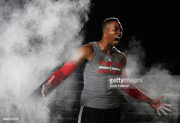Dwight Howard of the Houston Rockets poses during a video shoot at the Rockets Media Day at the Toyota Center on September 29 2014 in Houston Texas