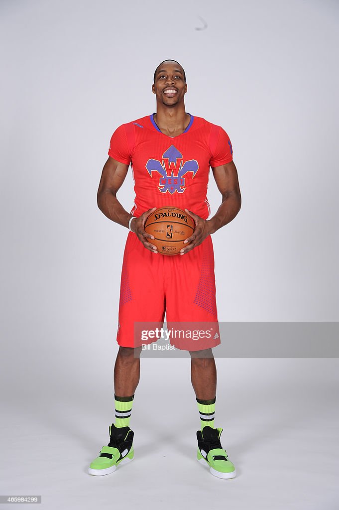Dwight Howard #12 of the Houston Rockets poses for a portrait in the 2014 All-Star Uniform being named a reserve on January 21, 2014 at the Toyota Center in Houston, Texas.