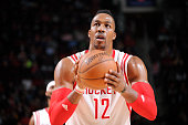 Dwight Howard of the Houston Rockets prepares to shoot a free throw against the Golden State Warriors during the game on January 17 2015 at the...