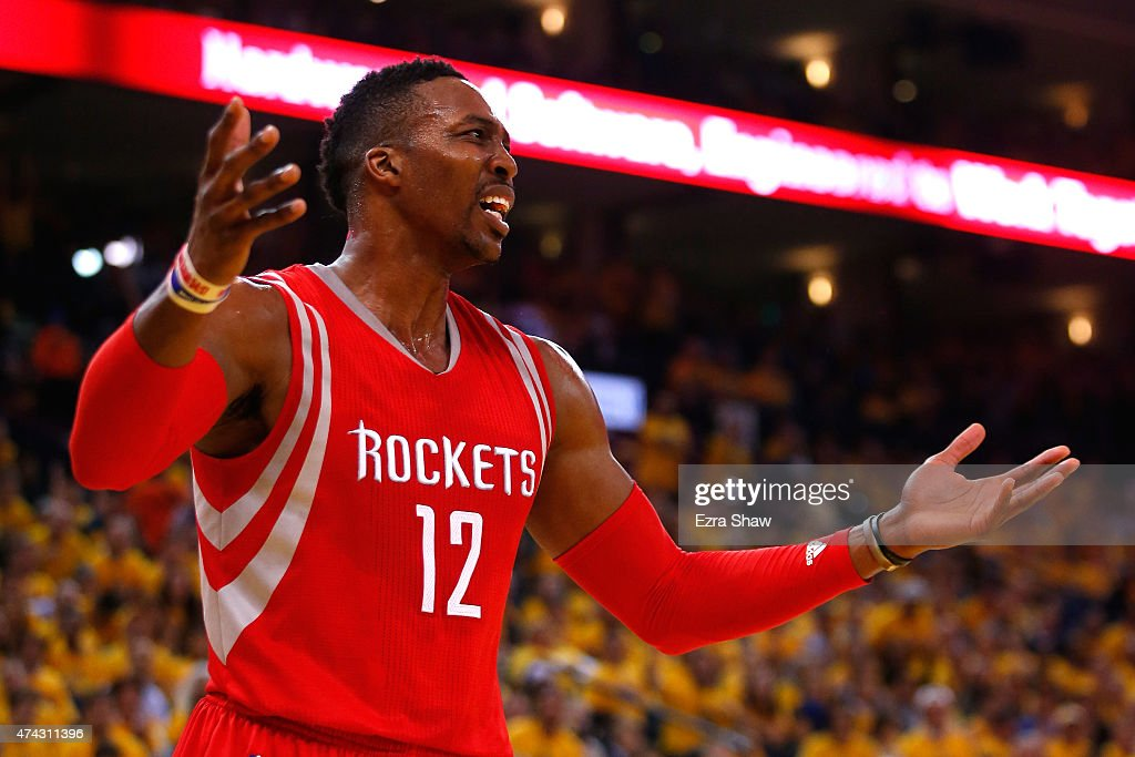 <a gi-track='captionPersonalityLinkClicked' href=/galleries/search?phrase=Dwight+Howard&family=editorial&specificpeople=201570 ng-click='$event.stopPropagation()'>Dwight Howard</a> #12 of the Houston Rockets reacts after a play in the first quarter against the Golden State Warriors during game two of the Western Conference Finals of the 2015 NBA PLayoffs at ORACLE Arena on May 21, 2015 in Oakland, California.