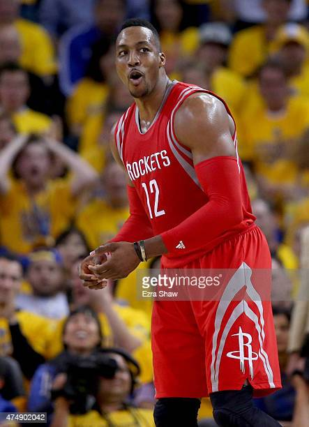 Dwight Howard of the Houston Rockets reacts in the first half while taking on the Golden State Warriors during game five of the Western Conference...
