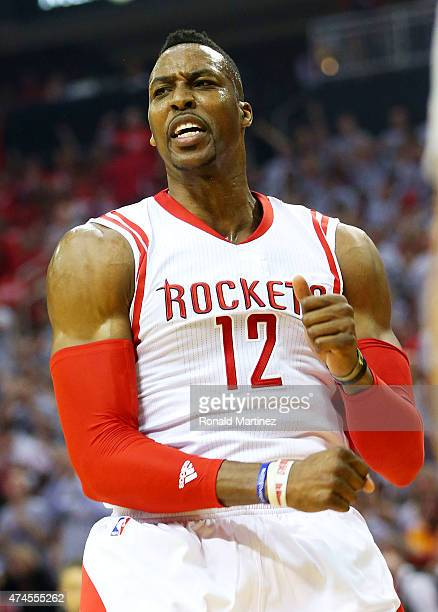 Dwight Howard of the Houston Rockets reacts in the first quarter against the Golden State Warriors during Game Three of the Western Conference Finals...