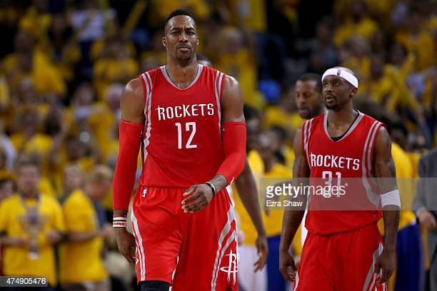 Dwight Howard of the Houston Rockets reacts in the second half while taking on the Golden State Warriors during game five of the Western Conference...