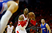 Dwight Howard of the Houston Rockets shoots a free throw against the Los Angeles Clippers in the second quarter during Game Seven of the Western...