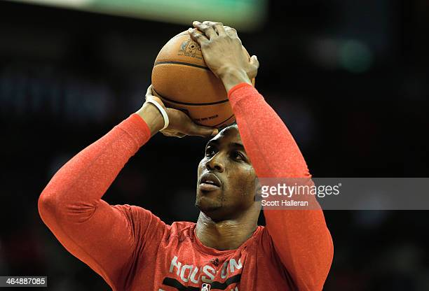 Dwight Howard of the Houston Rockets shoots a free throw on the court before the game against the Memphis Grizzlies at the Toyota Center on January...