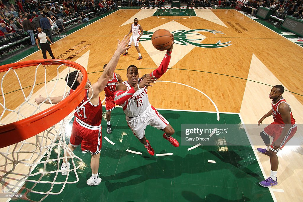 <a gi-track='captionPersonalityLinkClicked' href=/galleries/search?phrase=Dwight+Howard&family=editorial&specificpeople=201570 ng-click='$event.stopPropagation()'>Dwight Howard</a> #12 of the Houston Rockets shoots against the Milwaukee Bucks on February 8, 2014 at the BMO Harris Bradley Center in Milwaukee, Wisconsin.