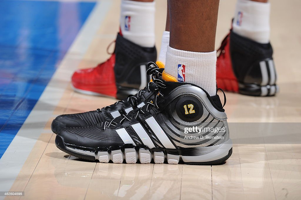 Dwight Howard #12 of the Houston Rockets showcases his sneakers against the Los Angeles Clippers at Staples Center on November 4, 2013 in Los Angeles, California.