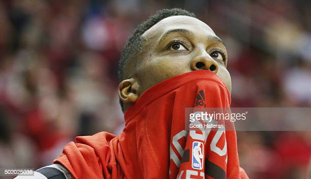Dwight Howard of the Houston Rockets sits on the bench during their game against the Los Angeles Clippers at Toyota Center on December 19 2015 in...