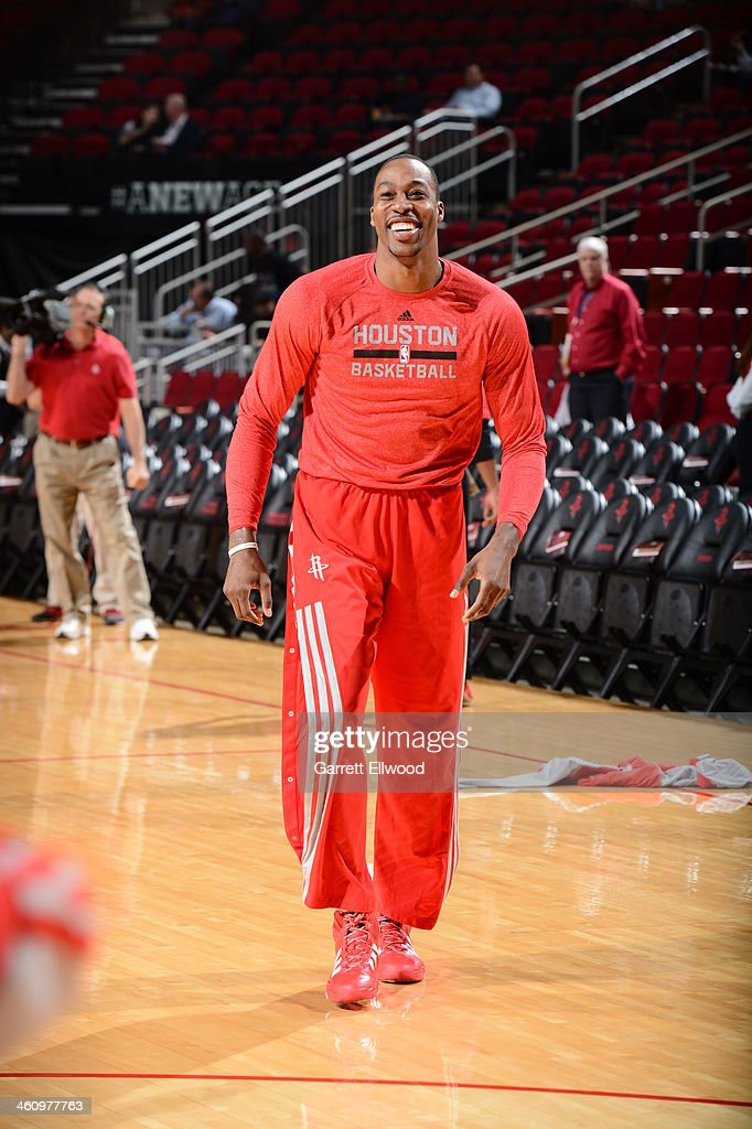 <a gi-track='captionPersonalityLinkClicked' href=/galleries/search?phrase=Dwight+Howard&family=editorial&specificpeople=201570 ng-click='$event.stopPropagation()'>Dwight Howard</a> #12 of the Houston Rockets smiles before the game against the Phoenix Suns on December 4, 2013 at the Toyota Center in Houston, Texas.