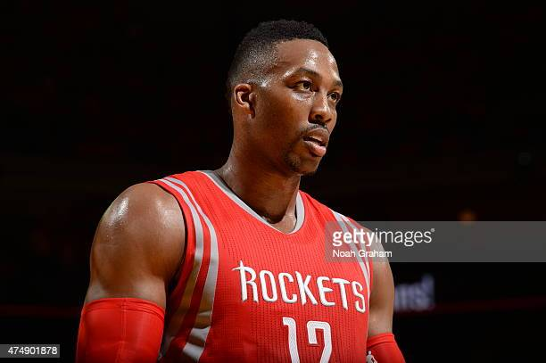 Dwight Howard of the Houston Rockets stands on the court during the game against the Golden State Warriors in Game Five of the Western Conference...