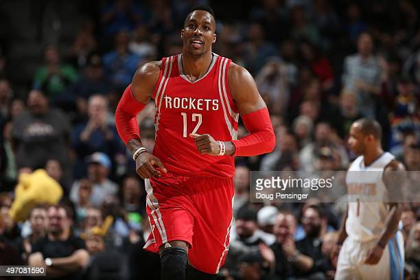 Dwight Howard of the Houston Rockets takes the court against the Denver Nuggets at Pepsi Center on November 13 2015 in Denver Colorado The Nuggets...