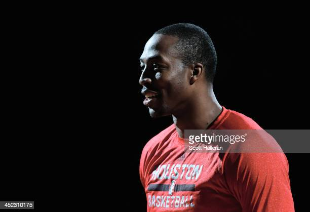 Dwight Howard of the Houston Rockets waits on the court before the game against the Atlanta Hawks at Toyota Center on November 27 2013 in Houston...