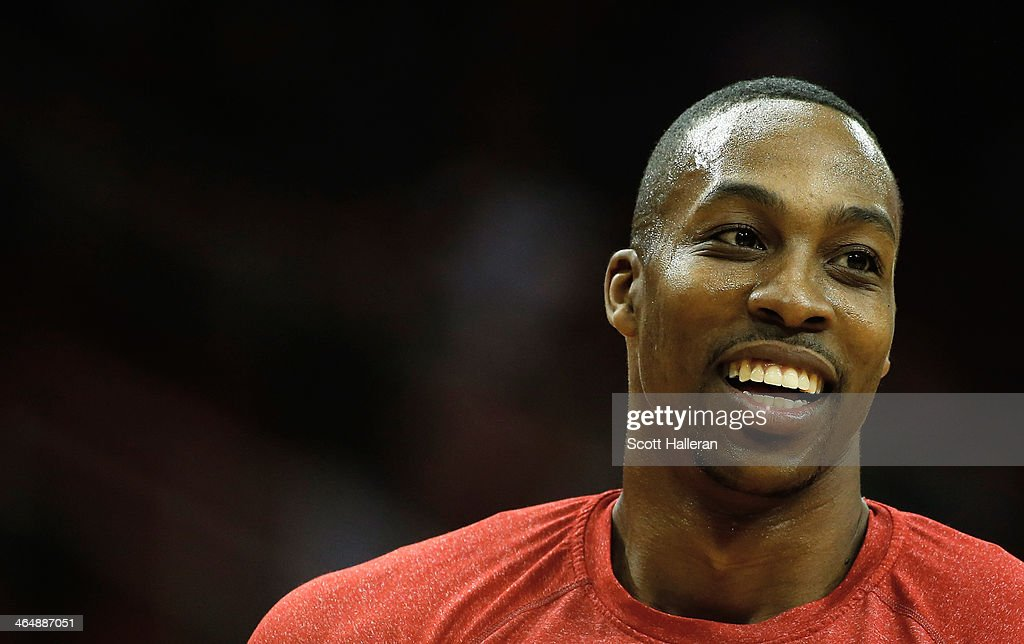 <a gi-track='captionPersonalityLinkClicked' href=/galleries/search?phrase=Dwight+Howard&family=editorial&specificpeople=201570 ng-click='$event.stopPropagation()'>Dwight Howard</a> #12 of the Houston Rockets waits on the court before the game against the Memphis Grizzlies at the Toyota Center on January 24, 2014 in Houston, Texas.