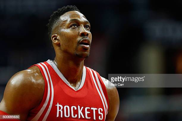 Dwight Howard of the Houston Rockets waits to shoot a free throw against the Washington Wizards in the first half at Verizon Center on December 9...
