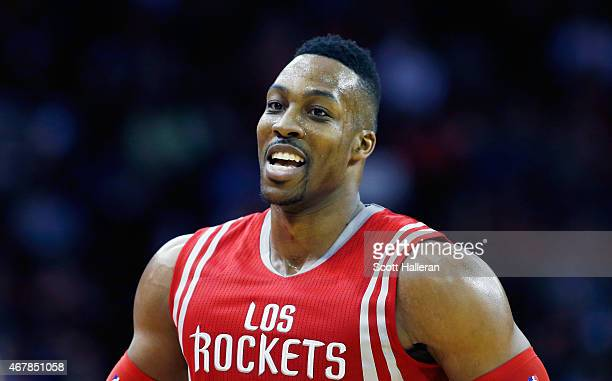 Dwight Howard of the Houston Rockets walks across the court during their game against the Minnesota Timberwolves at the Toyota Center on March 27...
