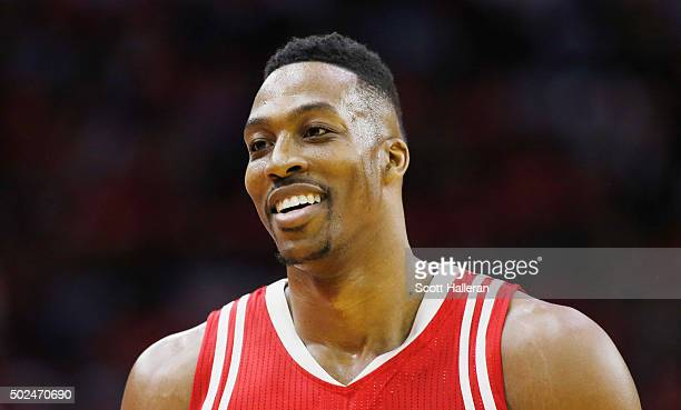 Dwight Howard of the Houston Rockets walks off the court during their game against the San Antonio Spurs at the Toyota Center on December 25 2015 in...